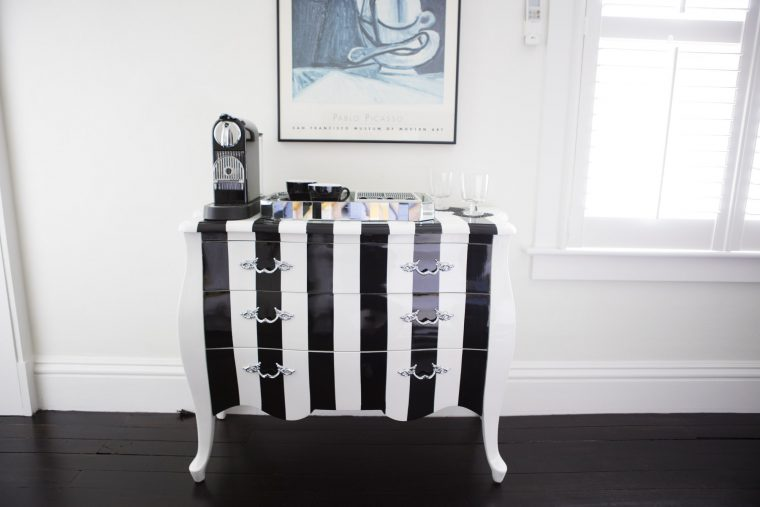 Black & White Striped Dresser
