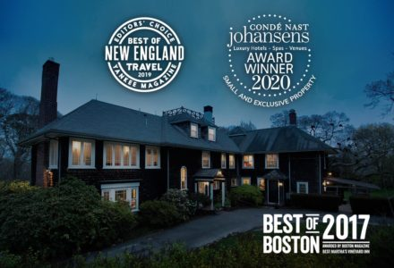 The exterior of teh inn with various awards including Best of Boston 2017, Best of New England Travel from Yankee Magazine 2019 and Conde Nast Johansens Best Small & Exclusive Property 2020
