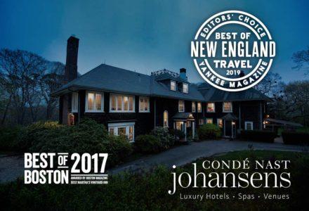 Photo of the inn at dusk with awards overlaid: Yankee Magazine Best of New England 2019, Best of Boston 2017, Conde Naste Johansens member