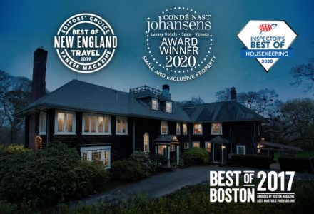 The exterior of the inn with various awards including Best of Boston 2017, Best of New England Travel from Yankee Magazine 2019, AAA Best of Housekeeping 2020, and Conde Nast Johansens Best Small & Exclusive Property 2020