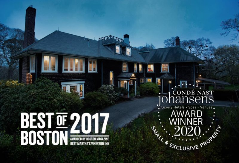 The exterior of teh inn with various awards including Best of Boston 2017 and Conde Nast Johansens Best Small & Exclusive Property 2020