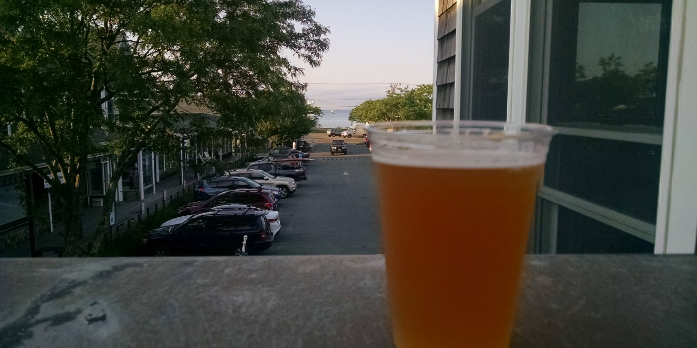 Beer with Vineyard Haven Harbor in Background