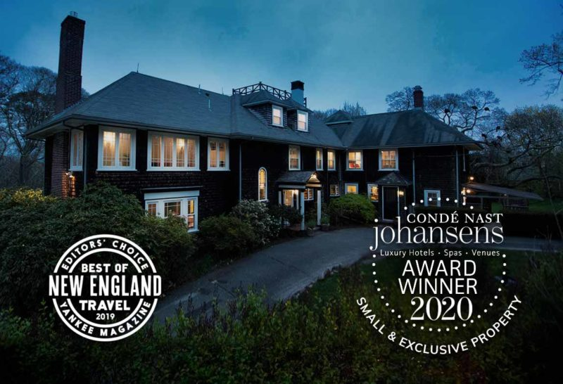 The exterior of the Nobnocket inn with various awards including Best of New England Travel 2019 Yankee Magazine and Conde Nast Johansens Best Small & Exclusive Property 2020